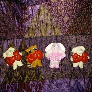 Set of 4 Valentines  Brooches Pins Animals Hearts